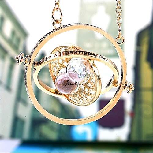 You will think of me Zeitumkehrer Halskette Sanduhr Vintage Anhänger Konverter Schwungrad Timing Anhänger Halskette for Mwn Frauen (Metal Color : Rose Gold Color) (Zeit Halskette Die Turner)
