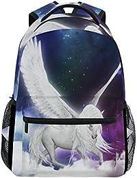 Preisvergleich für COOSUN Unicorn Pegasus im Universum zufällige Rucksack Schultasche Reise Daypack Unicorn Pegasus im Universum