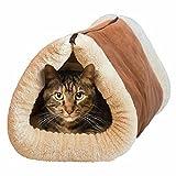 Mixse 2 in 1 Liegematte und Kuschelhöhle für Katzen und Hundewelpen mit selbstwärmender Unterlage