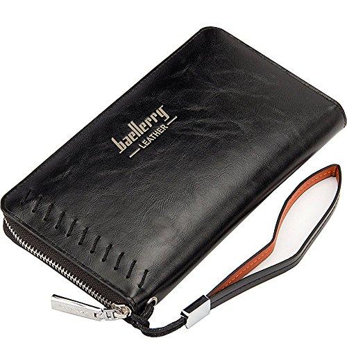 Leder Lange Geldbörse mit Reißverschluss Telefon Tasche, 12 Kreditkartenfächer, 2 Bargeldfächer Stil 3 Schwarz