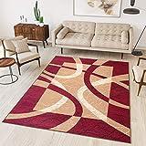 TAPISO Dream Tappeto Salotto Moderno Soggiorno Rosso Beige Astratto Cerchi Quadrato A Pelo Corto 160 x 230 cm