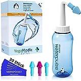 Nasendusche Set 300ml YogaMedic - 30x Nasenspülsalz Beutelchen - 3 Aufsätze zur effektiven Nasenreinigung - Salz aus Deutschland - bei Erkältung Schnupfen Allergie Trockene Nase