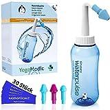 Nasendusche Set 300ml YogaMedic - 30x Nasenspülsalz aus Deutschland - 3 Aufsätze zur effektiven Nasenreinigung - bei Erkältung Schnupfen Allergie Trockene Nase
