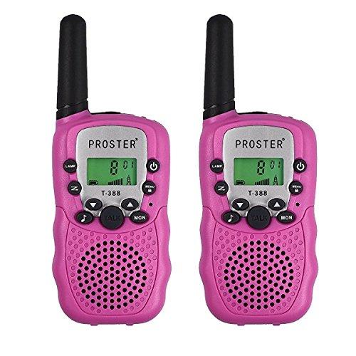 Proster 2PZ Walkie Talkie Lunga Gamma Due-Via Radio - UHF 446MHz 8 Canali Fino a 3KM con LCD Display Retroilluminato - Colore Rosa