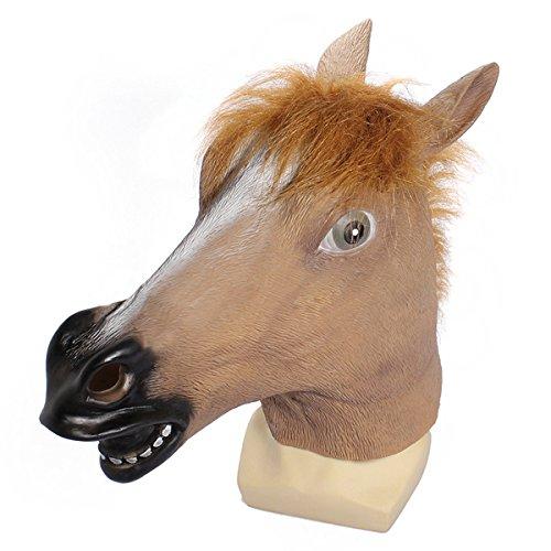 pf-Maske Gruselige Halloween-Kostuem Theater Prop Neuheit - braunes Pferd (Braune Pferde Maske)