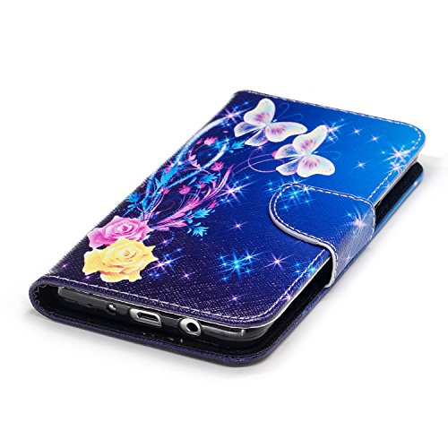 Samsung Galaxy J5 (2016) (5.2 pouce) Coque , PU Cuir Étui Protection Wallet Housse la Haute Qualité Pochette Anti-rayures Couverture Bumper Magnétique Antichoc Case Anfire Cover pour Samsung Galaxy J5 Bleu et Papillon