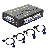 USB KVM Switch a 4 porte di commutazione automatica del video audio con Hub USB per stampante condivisa