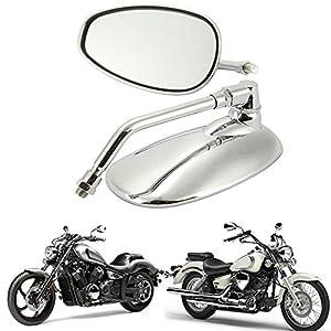 KKmoon 1 Paar Universal Motorrad Scooter Aluminiumlegierung Rearview Seitenspiegel Modified Zubeh/ör f/ür 8mm 10mm Au/ßendurchmesser Lenker Street Cars Scooters