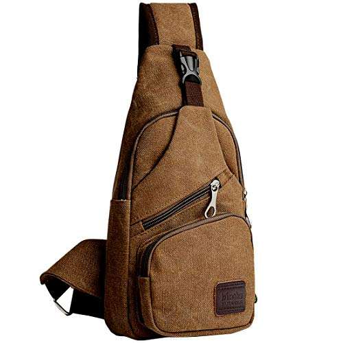 ICEIVY Sling Bag Rucksack Crossbody Tasche Herren Brusttasche, Schulterrucksack Männer Klein Chest Pack Daypacks für Schule Reisen Wandern Outdoor,Multiple Storage Zweck Taschen