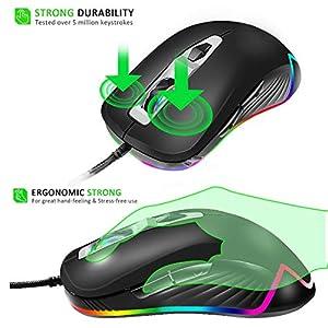 WASDkeys M210 RGB Gaming Maus, 7 Tasten, bis zu 4000 DPI (einstellbar), Ergonomische Wired Chroma Mouse, LED Hintergrund…