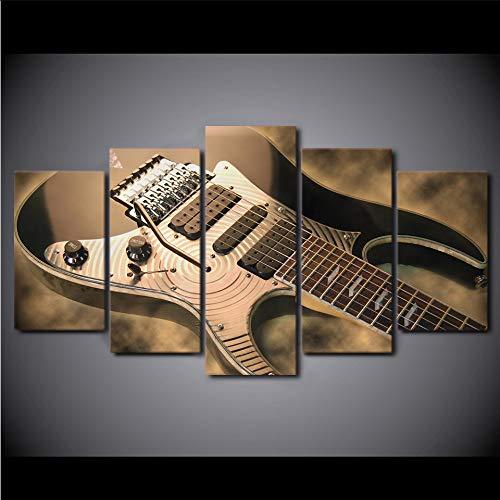 myvovo (Sin Marco) Pintura en Lienzo Arte de la Pared Impresiones HD5 Piezas Imágenes de Guitarra Eléctrica Vintage Instrumento de Música Cartel de la Sala de Estar Decoración