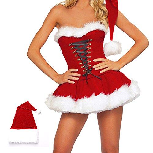 Weihnachtsmann Kostüm Damen Santa Kleid Sexy Geheimnis Miss Santa Weihnachtsfrau Weihnachtsmannkostüm Cosplay Prinzessin Weihnachten Bekleidung Rote Kleid M
