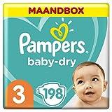 Pampers Baby-Dry Maat 3 (6-10kg), 198 Luiers, Luchtdoorlatende Banen Voor Een Droge Huid Die Kan Ademen Tijdens De Nacht, Voordeelverpakking