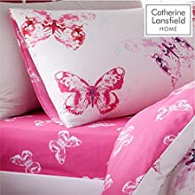 Catherine Lansfield Butterfly Easy Care Double Fitted Sheet Pink