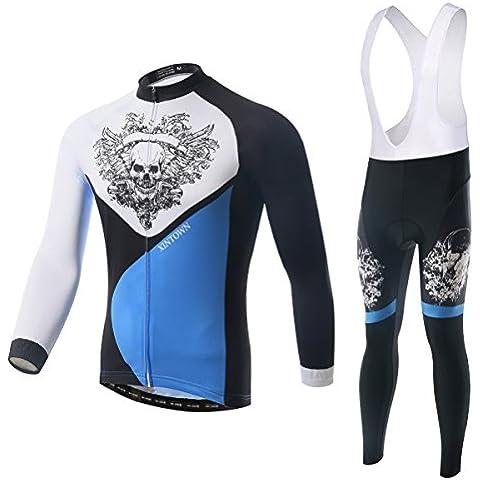 XINTOWN cranio modello ciclismo maglia manica lunga 3D imbottito Bib Pants Set maschile, inverno all'aperto caldo pile abbigliamento sportivo , xl