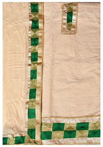 Exotic India Phulkari Salwar Kameez Fabric from Punjab - Color Cream And...