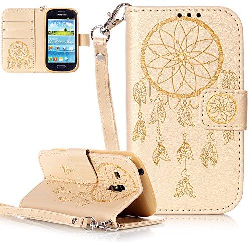 Preisvergleich Produktbild Galaxy S3 Mini I8190 Geldbörse Tasche,Samsung Galaxy S3 Mini I8190/Galaxy S III more/Galaxy I8190 S III mini hülle Leder [Gold],Campanula Samsung Galaxy S3 Mini I8190/Galaxy S III more/Galaxy I8190 S III mini Flip Case 3-in-1 Bookstyle,Muster Standfunktion Schutzhülle Tasche Credit Card Slots Wallet Case Leder
