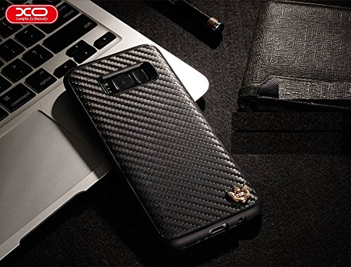 Sanchar's XO Carbon Fiber TPU Phone Case for Samsung Galaxy S8 Plus Drop Protection Cover Case for Samsung Galaxy S8plus case WITH LOGO- crbon Black