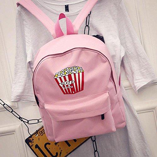 lo zaino , feiXIANG 2017 Donna ragazze Canvas preppy spalla Bookbags scuola viaggio zaino borsa,Tela,Solido ,Stile preppy,Borse a tracolla (grigio) rosa