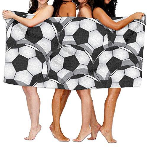 Doreen Emmie Übergroßes Mikrofaser-Strandtuch Decke mit Fußball-Motiv, super saugfähig, Badetuch für Outdoor, Camping, Sport, Reisen, schnelltrocknend, 80 x 132 cm