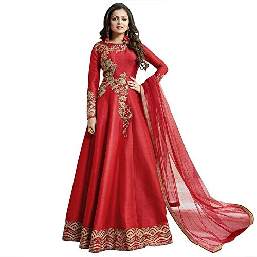 Ethnic Empire Women\'s Fantam Semi Stitched Anarkali Salwar Suits (Dharuva_Erty10774_Red)