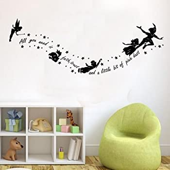 Peter Pan All You Need Is Pixy Dust Childrens Wall Sticker Mural Kids  Bedroom (Black Part 67