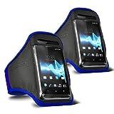 ONX3 - TWIN PACK - Samsung Galaxy S3 Neo (Dual Sim) verstellbarem Schultergurt Jogging Wandern Gymnasium Sports Armband (blau)