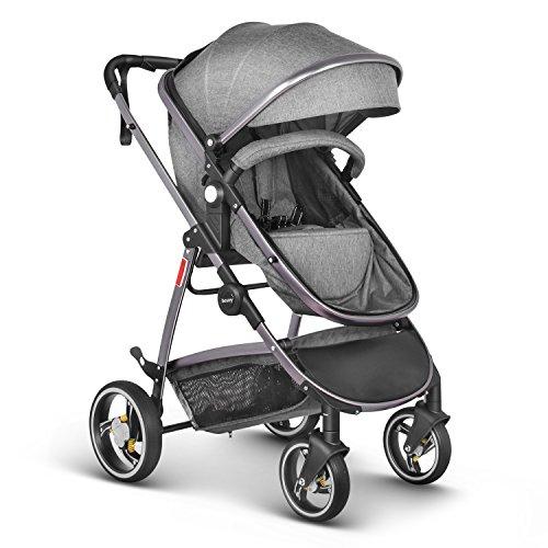 Besrey 2 in 1 Kombikinderwagen Reisesystem set kann als Sportwagen und Babywanne mit Regenschutz - Grau