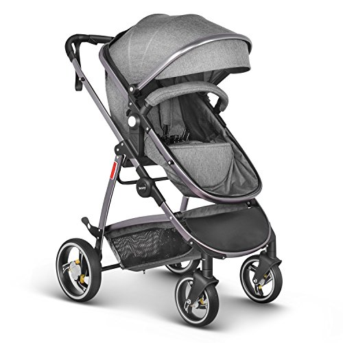 Besrey Silla de paseo Cochecito de paseo 2 en 1 - Jogger Carriage + capazo + cubierta de lluvia transparente - para niños de 0 a 3 años (max.15 kg) - gris
