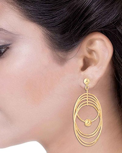 Voylla Flattering golden dangler earrings with a sphere drop  available at amazon for Rs.149