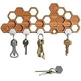 Magnetisches Schlüsselbrett in Bienenwaben-Form - Dekorative Schlüsselleiste aus Bambus/Holz