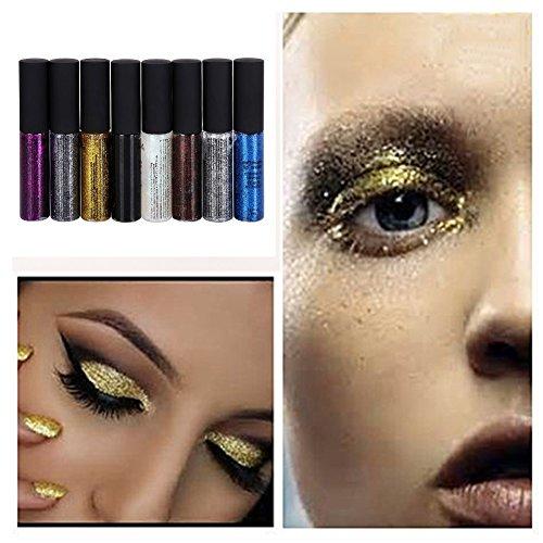 Prettyuk Glitter Liquid Eyeliner Waterproof Makeup Eyeliner Eyeshadow (8 Colors Set)