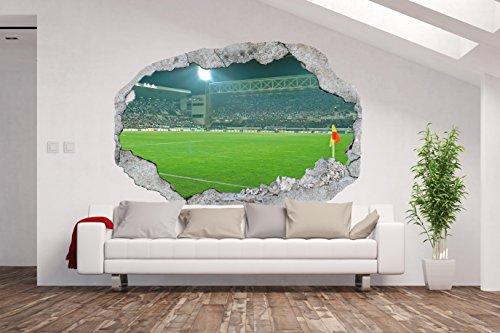 Vlies Fototapete / Poster XXL /3D Wandillusion /Loch in der Wand *Fußball Stadion*