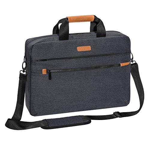 """PEDEA Laptoptasche """"Elegance Pro"""" Umhängetasche Schultertasche Messenger Tasche für Notebooks bis 17,3 Zoll (43,9cm) inkl. Tablet-PC Fach bis 10,1 Zoll (25,9cm), grau"""