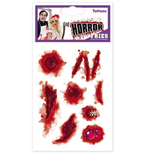 Tattoos Wunden HALLOWEEN Zombie Narbe Wunde Horrorwunde Horrornarbe Tattoos Horror Hexe Zombie Dracula Scherzartikel (Maske Hexe Accessoire Kostüm)