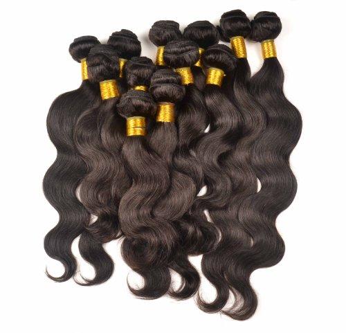 Lot de 3 trames d'extensions de cheveux péruviens 100 % naturels de tailles différentes 3 x 100 g 45 cm 50 cm 55 cm