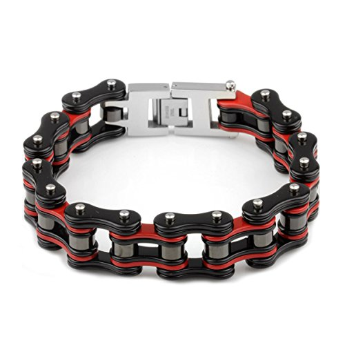 Heyrock 316L Stainless Steel Men's Bike Chain Bracelets Bicycle Link Chain Heavy Chunky Bracelets,225x19mm (Red and Black)