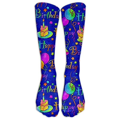 Jxrodekz Happy Birthday Blue Cake Compression Socks For Men & Women