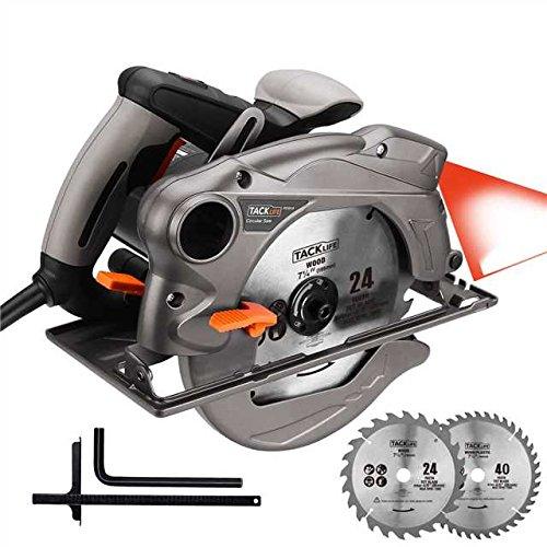 TACKLIFE Scie Circulaire , 1500W, lames de 185mm (24T et 40T), Guide Laser, Protection en Métal - PES01A