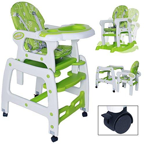 Seelux beweglicher 3 in 1 Multi Kinderhochstuhl mit Schaukelfunktion, Rollen mit Bremse, verstellbar (Grün)