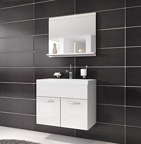 Badezimmer Badmöbel Montreal 02 60cm Waschbecken Hochglanz Weiß Fronten - Untersch...
