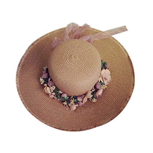 BoburyL Wide Brim Straw Sonnenhut Frauen-Mädchen-Blumenkranz Frühlings-Sommer-Cap-Strand-Hut Kopfschmuck Kopfbedeckung