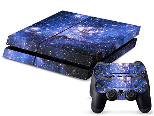 Audew-selbstklebende-Abdeckung-fr-Sony-PS4-Console-und-zwei-Steuergerte-zum-Schutz-der-Haut-Nachthimmel-Design