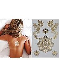 Tattoo Tatouage Temporaire Métallique Golden Metallic Gold Stickers de tatouage temporaire pour l'art corporel Motif or Fleur - TATT1253 Temporary Tattoo Body Tattoo Sticker - FashionLife