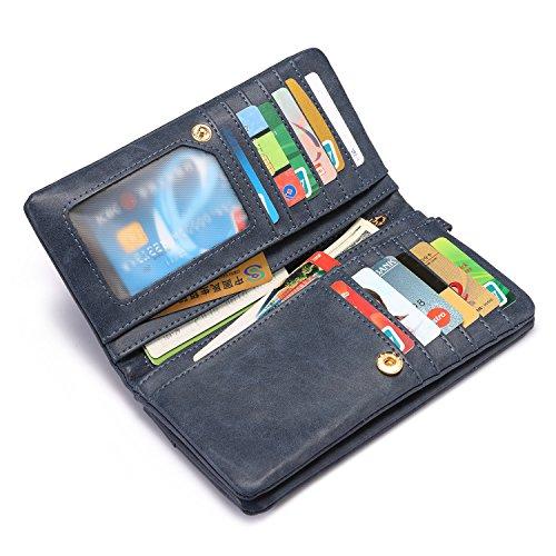 Geldbörsen für Frauen Karten-Etui Bifold Brieftasche Multi Card Slots mit Handschlaufe (Extrahieren Sie Natürlich)