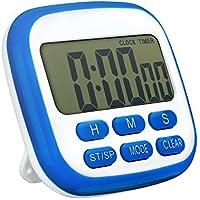 TOPELEK Digital temporizador de cocina, Temporizador de 24 horas reloj despertador con pantalla LCD de gran tamaño, pitido, fuerte imanes, retráctil soporte