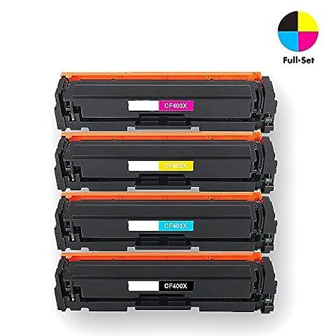Airprint® Compatible CF400X CF401X CF402X CF403X Cartouche de Toner Compatible pour HP Color LaserJet Pro MFP M277dw, M252dw, MFP M277n, M252n - 4x Noir, Cyan, Magenta, Jaune - 1 x2800 & 3 x 2300 pages