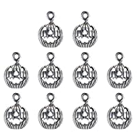‏‪Toyvian 10Pcs Halloween Charm PendentTibetan Style Pumpkin Craft Alloy Collector For DIY Necklace Bracelet Jewelry Findings Silver‬‏