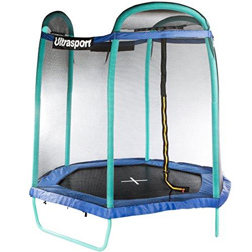 Ultrasport trampolino da giardino jumper esagonale 213cm, inclusa rete di sicurezza
