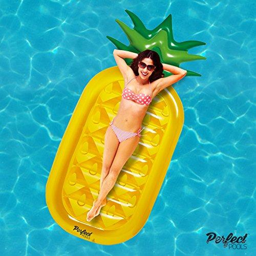 Offizielle 'Perfect Pools' Aufblasbare Riesen Ananas Lilo | Schwimmbecken Schwimmer 180cm